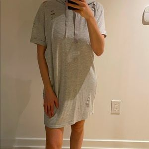 Distressed Dress With Hood